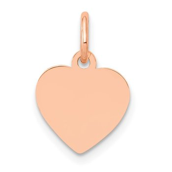 14K Rose Polished Heart Shaped Disc Pendant