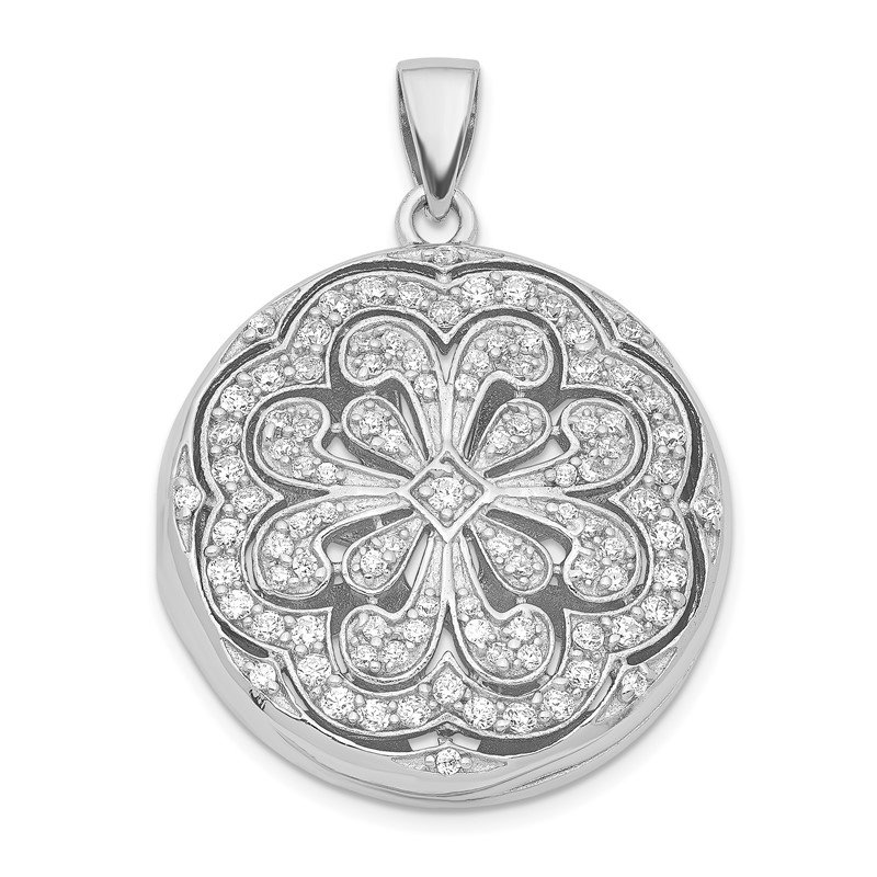 Quality Gold Sterling Silver CZ Circle w/ Flower Design Locket Pendant