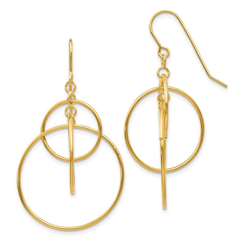 Quality Gold 14k Polished Circles Dangle Earrings