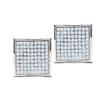 14kt White Gold Womens Round Pave-set Diamond Square Cluster Earrings 1/2 Cttw