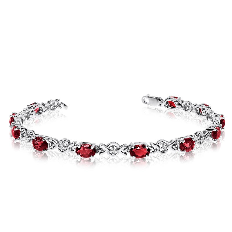 Color Merchants 14K White Gold Oval Garnet and Diamond Bracelet
