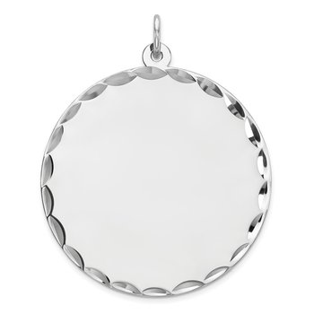 Sterling Silver Rhod-plated ENG. Round Polish Front/Satin Back Disc Charm