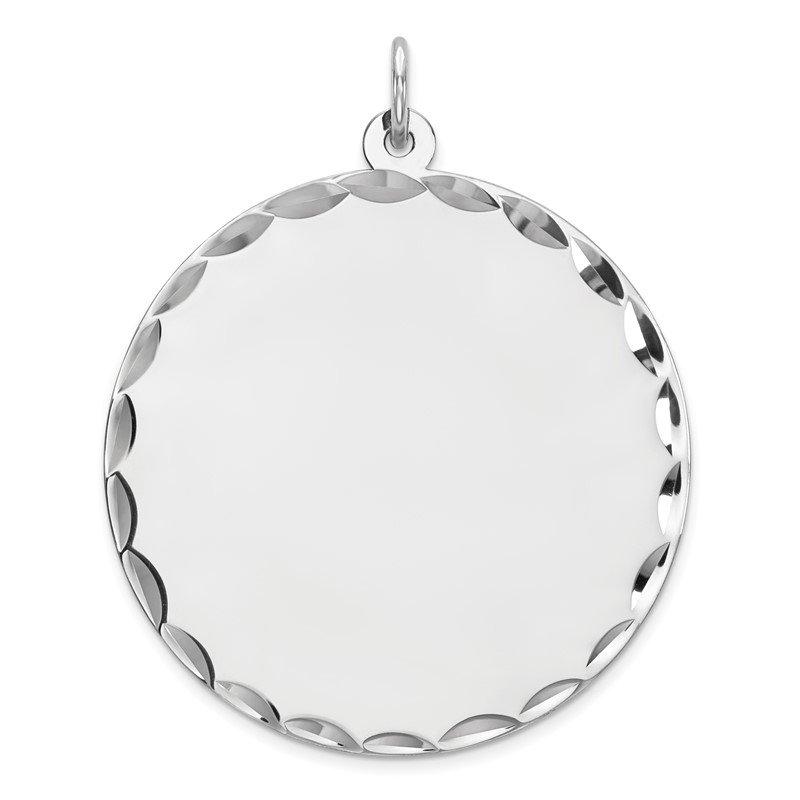 Quality Gold Sterling Silver Rhod-plated ENG. Round Polish Front/Satin Back Disc Charm