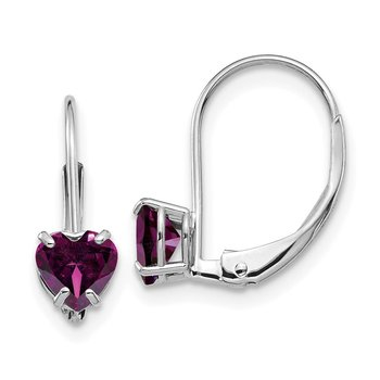 14k White Gold 5mm Heart Rhodolite Garnet Leverback Earrings