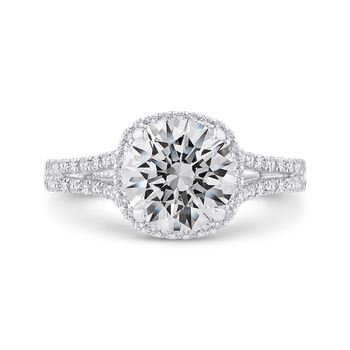 18K White Gold Diamond Halo Engagement Ring (Semi-Mount)