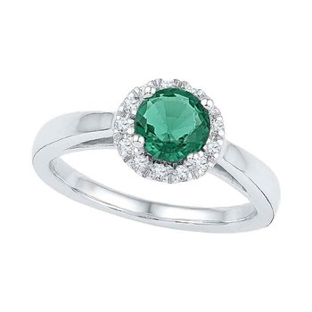10kt White Gold Womens Round Lab-Created Emerald Solitaire Ring 7/8 Cttw