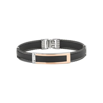 Black Cable & Rubber Bracelet with 18kt Rose Gold Station