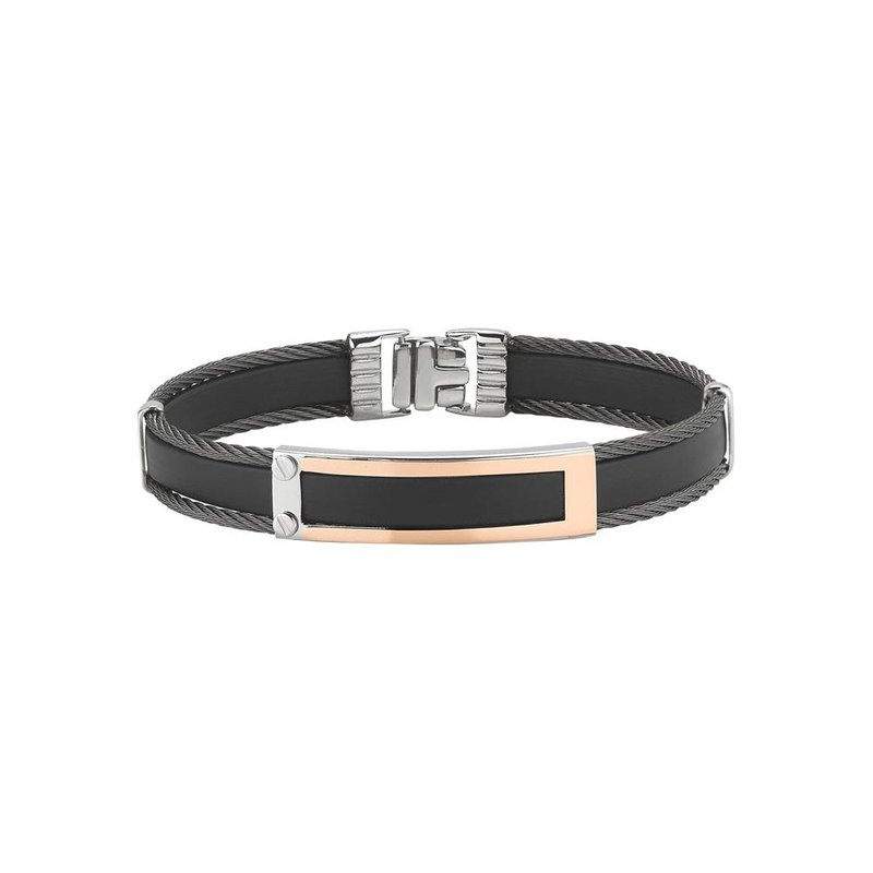 ALOR Black Cable & Rubber Bracelet with 18kt Rose Gold Station