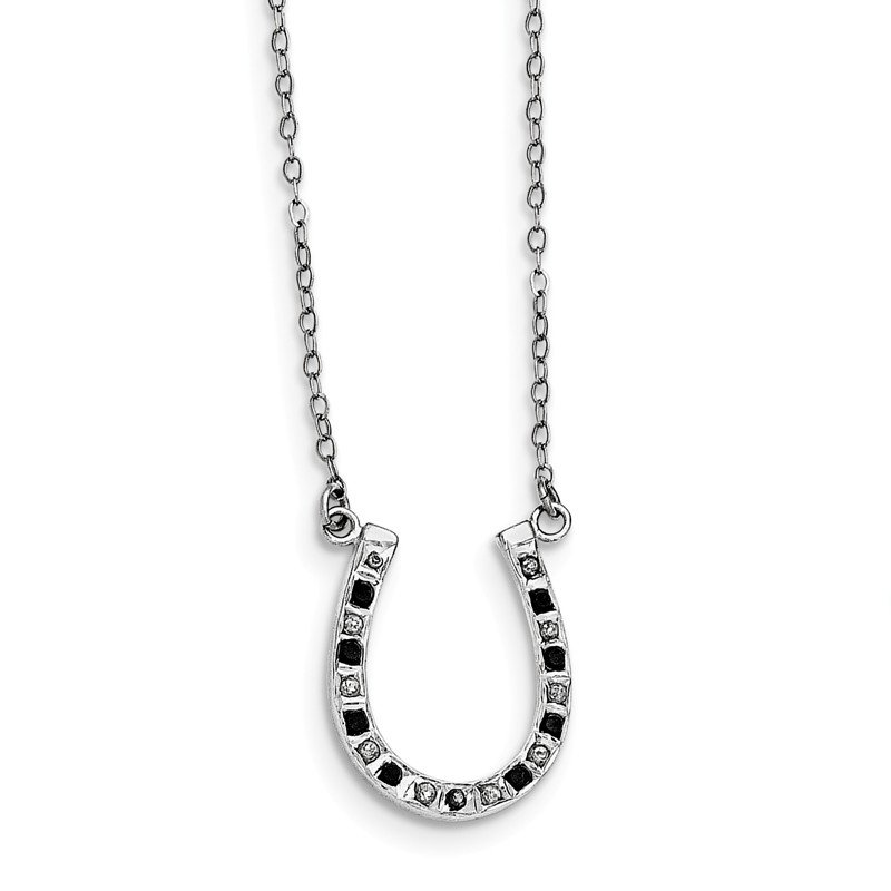 Arizona Diamond Center Collection Sterling Silver Diamond Mystique Black & White Diamond Necklace