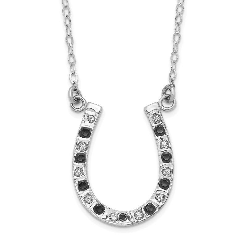 Quality Gold Sterling Silver Diamond Mystique Black & White Diamond Necklace