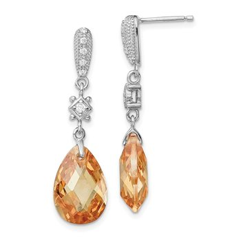 Sterling Silver Rhodium-plated Champagne CZ Dangle Post Earrings