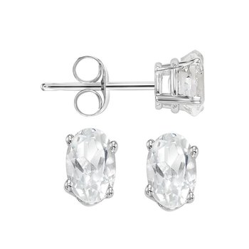 Oval Prong Set White Sapphire Stud Earrings in 14K White Gold
