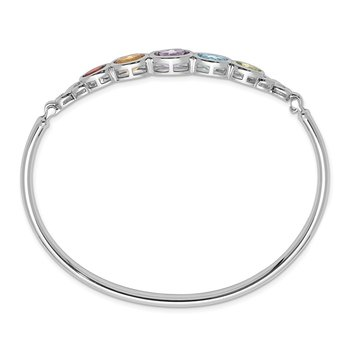 Sterling Silver Rhodium-plated Multi Gemstone Bangle Bracelet