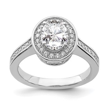 Sterling Silver Rhodium-plated & CZ Oval Ring