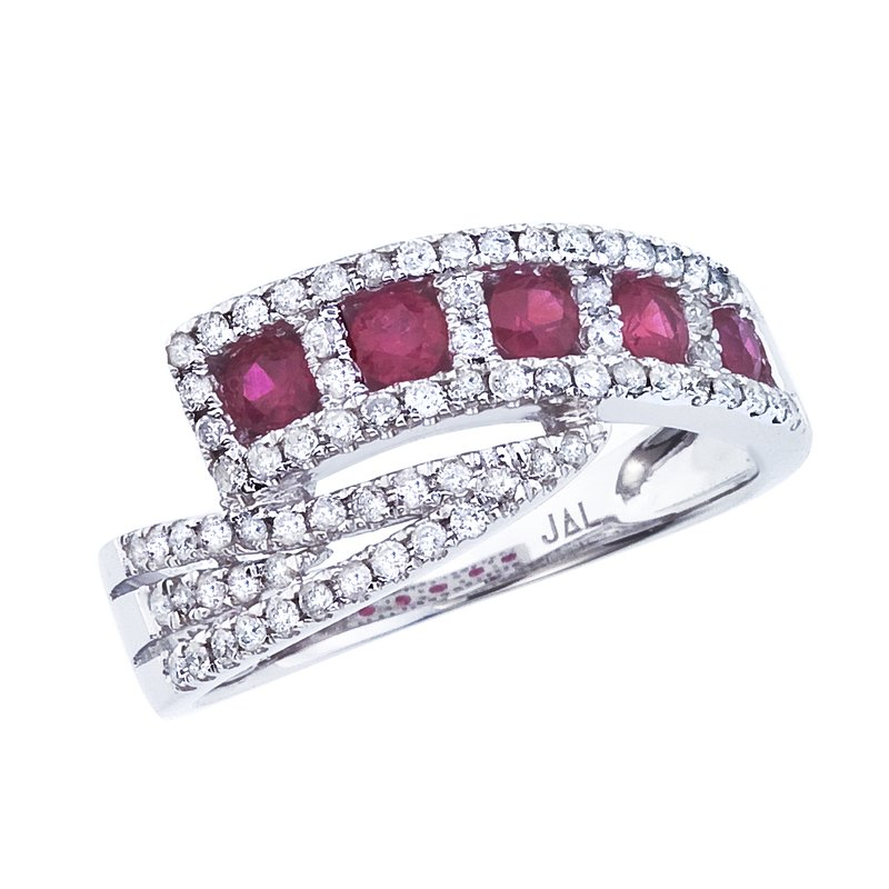 Color Merchants 14k White Gold Ruby and Diamond Ring