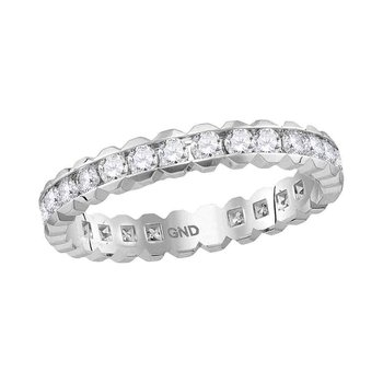 14kt White Gold Womens Round Channel-set Diamond Eternity Wedding Band 1.00 Cttw