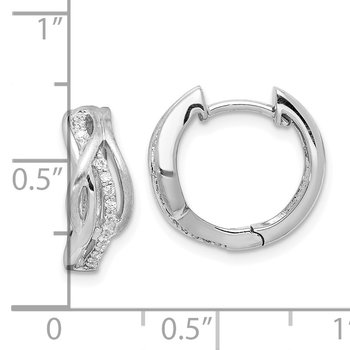 Sterling Silver Rhodium-plated Satin CZ Swirl Hinged Hoop Earrings
