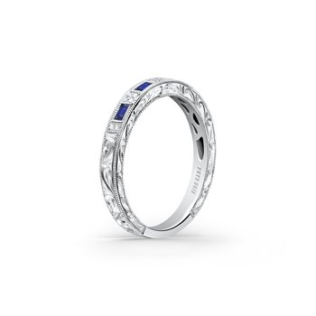 Engraved Blue Sapphire Diamond Engagement Ring