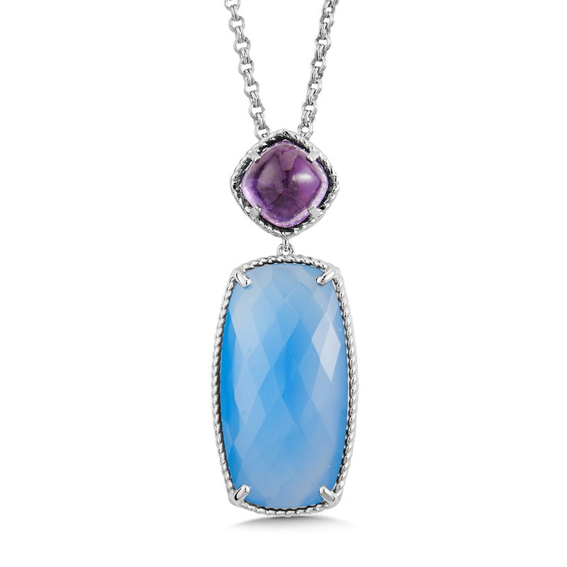 Colore Sg Sterling Silver Amethyst & Blue Chalcedony Pendant