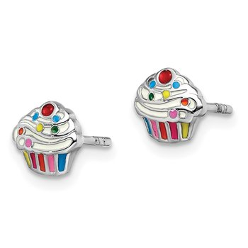 Sterling Silver Rhodium-plated Childs Enameled Cupcake Post Earrings