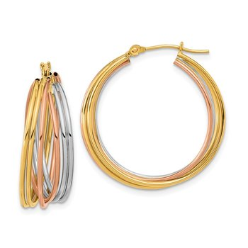 14k Tri-color Fancy Hollow Tube Hoops