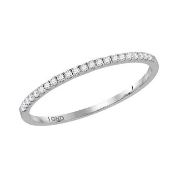 14kt White Gold Womens Round Diamond Slender Stackable Band Ring 1/8 Cttw