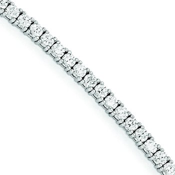 Sterling Silver Rhodium-plated CZ 7in Bracelet