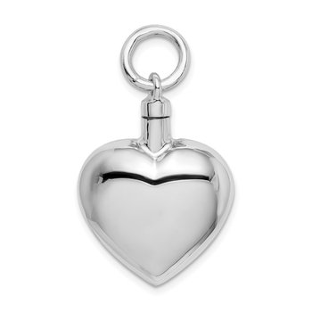 Sterling Silver Rhodium-plated Polished Heart Ash Holder Pendant