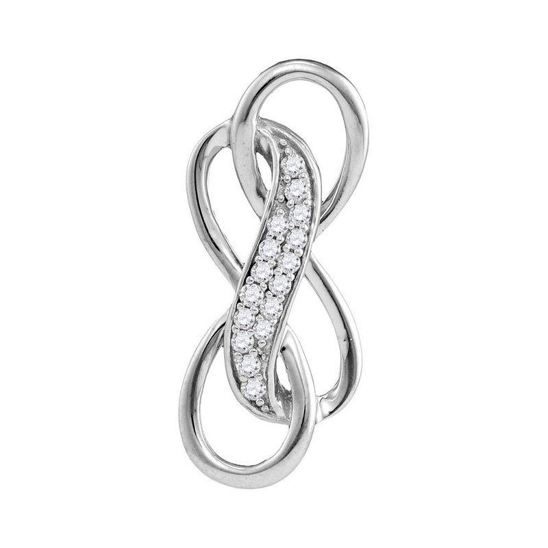 Kingdom Treasures Sterling Silver Womens Round Diamond Triple Infinity Pendant 1/10 Cttw