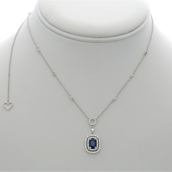 Double Halo Sapphire Drop Necklace