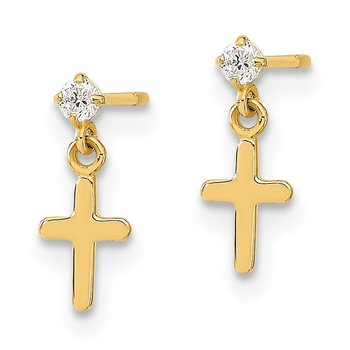 14k Madi K Childrens CZ Cross Post Dangle Earrings