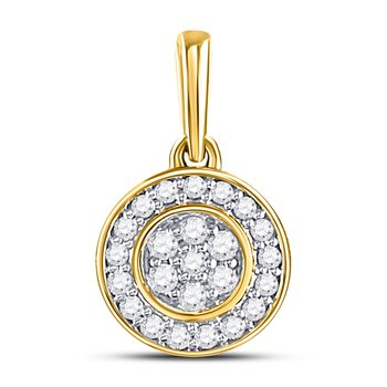10kt Yellow Gold Womens Round Diamond Circle Frame Flower Cluster Pendant 1/6 Cttw