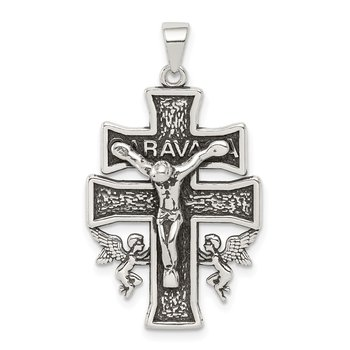 Sterling Silver Antiqued Mini Caravaca Crucifix Pendant