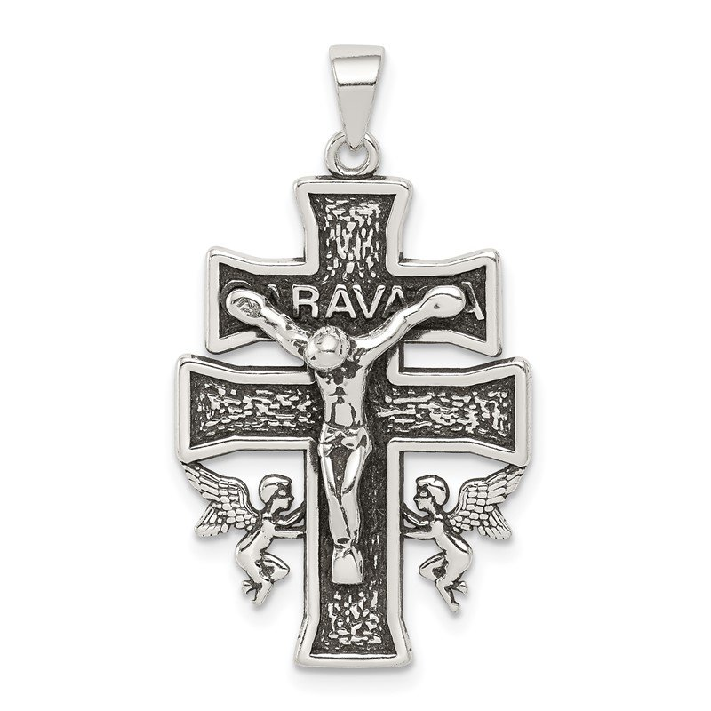 Quality Gold Sterling Silver Antiqued Mini Caravaca Crucifix Pendant