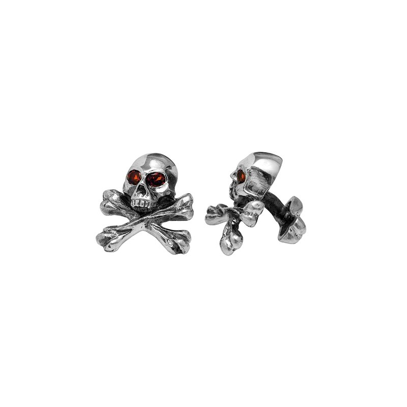 King Baby Skull & Crossbone Cuff Links With Red Garnet Stones