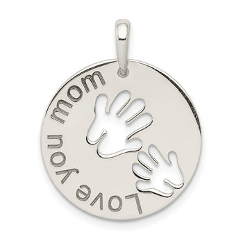 Sterling Silver Polished Love You Mom Pendant
