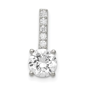 Sterling Silver Rhodium-plated CZ Pendant