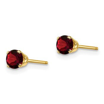 14k 4mm Round January/Garnet Post Earrings