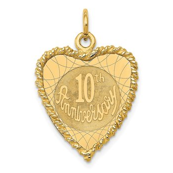 14K Happy 10th ANNIVERSARY Charm