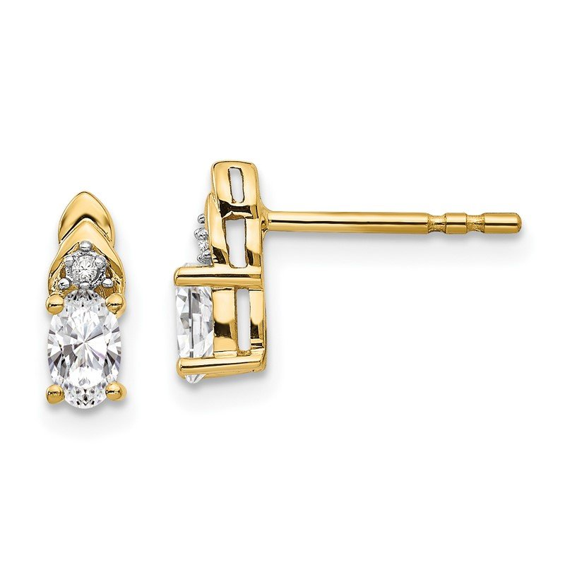 Quality Gold 14k White Topaz and Diamond Earrings