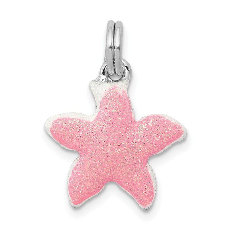 Quality Gold Sterling Silver Rhodium-platedEnameled Sparkle Starfish Charm