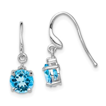 Sterling Silver Rhodium-plated Swiss Blue Topaz & Diamond Wire Earrings