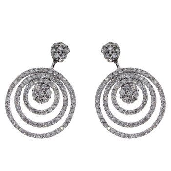 14k White Gold Diamond Circle Drop Earrings