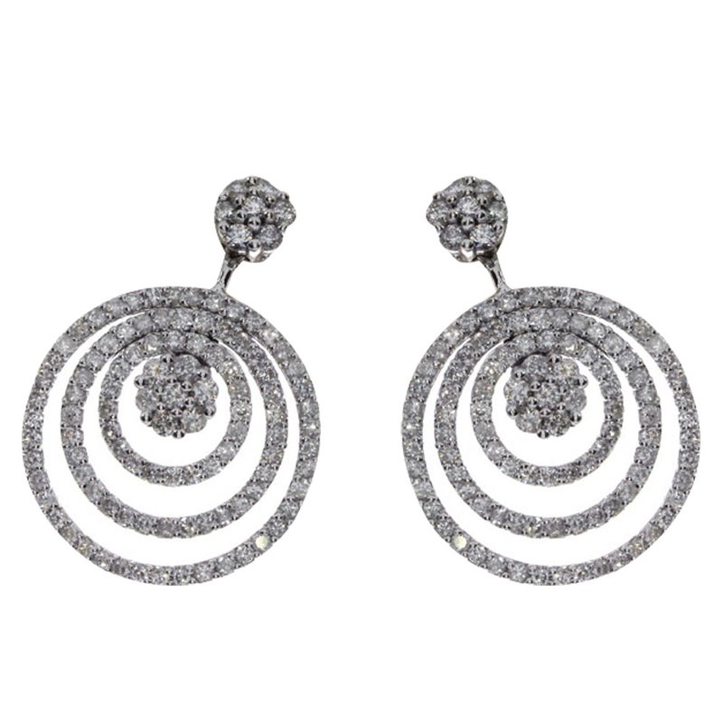 Color Merchants 14k White Gold Diamond Circle Drop Earrings