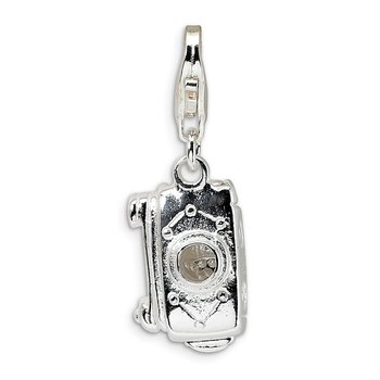 Sterling Silver 3-D Polished Movable Camera w/Lobster Clasp Charm