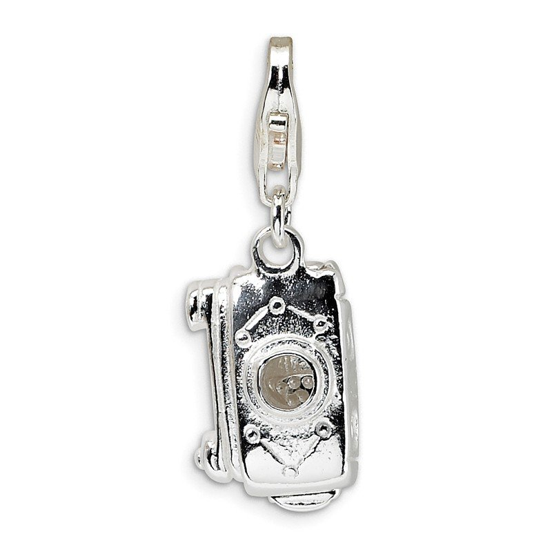 Quality Gold Sterling Silver 3-D Polished Movable Camera w/Lobster Clasp Charm