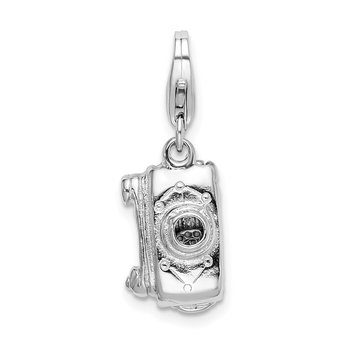Sterling Silver Amore La Vita Rhodium-plated 3-D Movable Camera Charm