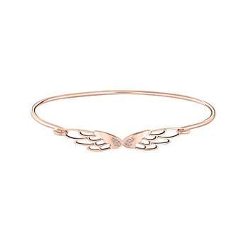 PAVE' WINGS Bangle Bracelet Sm/Med Swar White PB Zirconia SS, Rose Gold Electroplate