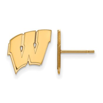 Gold-Plated Sterling Silver University of Wisconsin NCAA Earrings