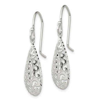 Sterling Silver D/C Filigree Teardrop Shepherd Hook Earrings